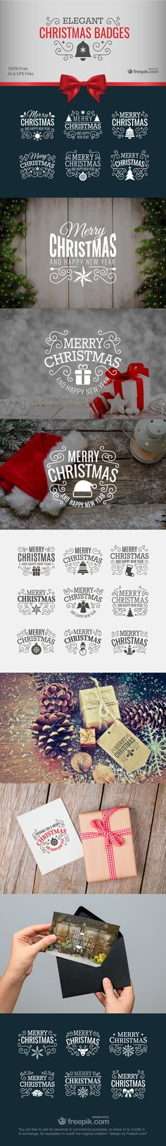 Free elegant Christmas badges: Download now!