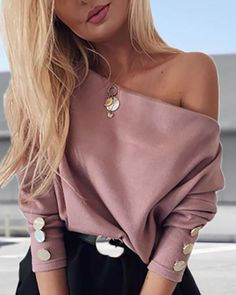 Solid Off Shoulder Buttoned Blouse Women's Online Shopping Offering Huge Discounts on Dresses, Lingerie , Jumpsuits , Swimwear, Tops and More. Plus Size Kleidung, Looks Chic, Womens Fashion Online, Latest Fashion, Women's Fashion, Pattern Fashion, Plus Size Outfits, Ideias Fashion, Clothes For Women