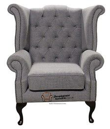 Chesterfield Queen Anne High Back Fireside Wing Chair Verity Steel Grey Armchair Retro Dining Chairs, Funky Chairs, Blue Dining Room Chairs, Wayfair Living Room Chairs, Cool Chairs, Arm Chairs, Wingback Chairs, Tufted Sofa, Blue Chairs