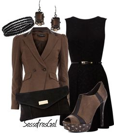 """Black & Brown IV"" by sassafrasgal ❤ liked on Polyvore"