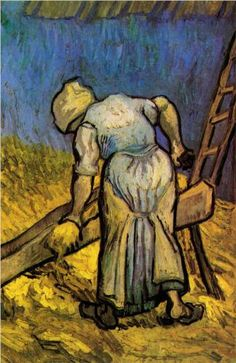 Peasant Woman Cutting Straw after Millet - Vincent van Gogh, 1889 ( Van Gogh Museum, Amsterdam, Netherlands), Wikipaintings