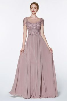 Cinderella Divine - Short Sleeve Appliqued Illusion A-Line Gown Bridesmaids Gowns With Sleeves, Mother Of Groom Dresses, Bridesmaid Dresses, Dresses With Sleeves, Short Sleeves, Formal Gowns With Sleeves, Simple Gowns, Beautiful Long Dresses, A Line Gown