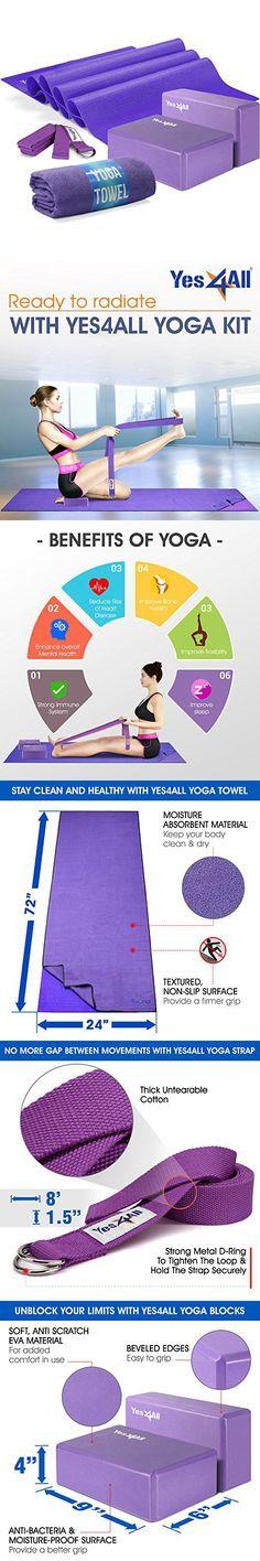 d30d4f8f67 Yes4All Yoga Starter Kit – Include: 2 Yoga Blocks, Yoga Strap, Yoga Towel & Exercise  Yoga Mat (NBR or PVC Material) (Purple Mat Yoga Starter Set)