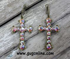 Get 10% off by using the discount code GUGREPKCAR at www.gugonline.com! AB Crystals on Small Bronze Cross Earrings