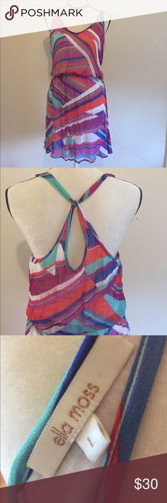 Anthropologie Ella Moss dress size L Anthropologie Ella Moss dress size L colorful bright dress with sexy back detail. Sheer overlay with white slip sewn in. Anthropologie Dresses Mini