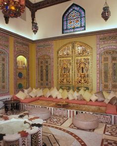 The Turkish Room of Shangri La- Doris Duke's Honolulu residence,  is composed of inlaid and painted-wood architectural elements from a historic house in Damascus, Syria.