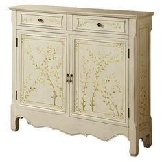 Console table with hand painted leaf pattern