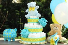 A diaper cake makes a stylish gift and centerpiece.