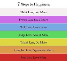 7 steps to happiness - don't think you can do it? Fake it till you make it. You'll eventually find it. :)