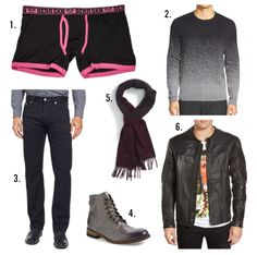 Complete The Look: Bear Skn with (1) Bear Skn Neon Brights Bamboo Boxer Brief. (2) Calibrate 'Gradient' Ombré Sweater. (3) BOSS 'Maine' Straight Leg Jeans - Black. (4) Blackstone 'IM26' Plain Toe Boot (Men). (5) Ted Baker London 'Risarz' Dot Scarf - Dark Red. (6) Roland Sands Design 'Barfly' Perforated Leather Moto Jacket.