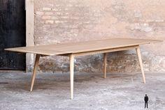 TABLE RALLONGES CHENE MASSIF - Made in France, sur-mesure  - pieds compas clair GENTLEMEN DESIGNERS