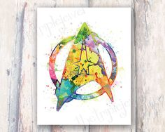 Splatter Star Trek Print 8x10 Geekery Nerdery by TheTripleJewel, $15.00 Star Trek Games, Star Trek Tos, Nerd Cave, Nerd Geek, Man Cave, Trek Ideas, Star Trek Party, Glass Etching Stencils, Nerd Decor