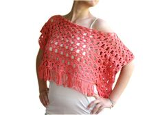 Peach Poncho with Fringes Coral Crochet Cotton by ForYouDesign