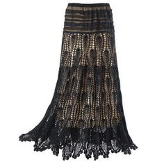 Pyramid Collection -- Black Lace Crochet Skirt. scalloped hem and wide, elasticized waistband. Lined. 100% cotton skirt and lining; polyester yoke. Hand wash/dry clean.