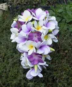Purple Frangipani Plumeria Teardrop Bouquet by Abloomortwo on Etsy, $148.00