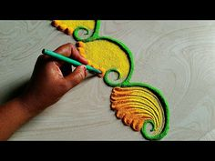 Beautiful and unique border rangoli for Diwali and navratri Happy Diwali Rangoli, Easy Rangoli Designs Diwali, Rangoli Designs Latest, Rangoli Designs Flower, Rangoli Border Designs, Small Rangoli Design, Colorful Rangoli Designs, Rangoli Designs Images, Rangoli Ideas