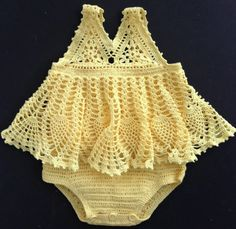 This all-in-one sundress onesie is made with crochet cotton and sized for a month-old infant. The little model in the photos is a petite 12 months. Baby Girl Crochet, Crochet Baby Clothes, Baby Blanket Crochet, Crochet Onesie, Cotton Crochet, Baby Patterns, Knitting Patterns, Crochet Patterns, Dress Patterns