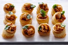 Butter chicken vol-au-vents - An Indian favourite is served in flaky, puff pastry cases for a bite-sized flavour explosion. Serve as a starter or finger food at your next cocktail party.