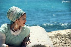 Tourqoise Satin Lace Sinar Tichel, headscarf, Headcovering, tichel, apron tichel, bandana
