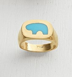 STONE INLAY BEAR RING  14k yellow gold ring with an onyx or blue turquoise inlay Bear. Sizes 5-10.  $1,595.00