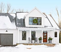minimal, exterior christmas decor @MidwestLiving