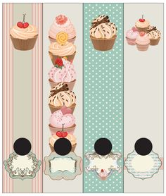 Cupcakes on a creamed coffee/polkadot blue background. Self-adhesive Lever Arch labels. 4 different labels in a packet.