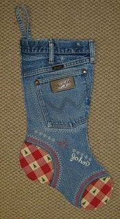 STYLISH DIY STOCKINGS - Upcycled denim. Use a pure red/white gingham fabric for the cut-out portions like on this. See if you can find any Christmas tree iron-on patches and maybe add a Christmas tree patch into the mix.
