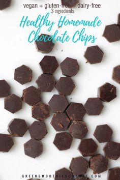 How to: Homemade Dark Chocolate Chips - vegan, gluten-free, dairy-free) - Green Smoothie Gourmet Homemade Chocolate Chips, Healthy Chocolate, Dark Chocolate Chips, Chocolate Recipes, Cacao Recipes, Superfood Recipes, Protein Recipes, Vegan Recipes, Keto Friendly Ice Cream