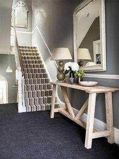 Hallway ideas: Coordinate a luxurious slate-grey carpet with a striped stair runner for a striking combination that works in both classic and modern homes. (Dimensions Heathers in Black Magic, from a sq metre; Tiled Hallway, Hallway Carpet, Modern Hallway, Wall Carpet, Dado Rail Hallway, Stairway Carpet, Hallway Flooring, Modern Stairs, Bedroom Carpet