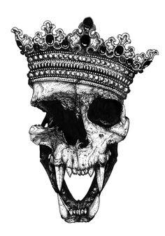 Ancients Kings : The Lion Canvas Print by sinpiggyhead Arte Horror, Horror Art, Skeleton Art, Lion Art, Skull And Bones, Gothic Art, Tattoo Drawings, Skull Drawings, Art Tattoos