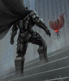 """Batman vs Superman!!! Art by hoasind on DevianArt"""