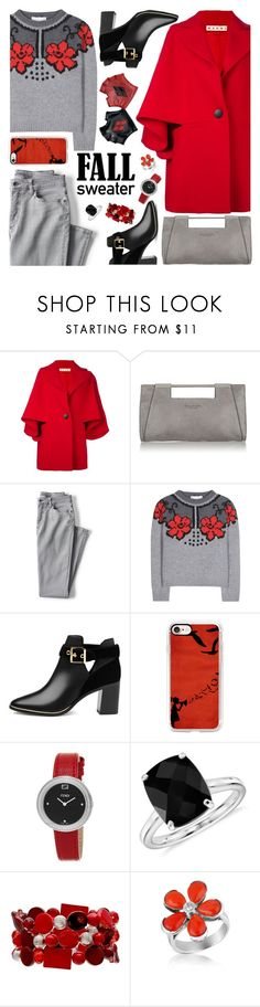 """""""Gray + Red + Black"""" by petalp ❤ liked on Polyvore featuring Marni, Halston Heritage, Lands' End, STELLA McCARTNEY, Ted Baker, Casetify, Fendi, Blue Nile, Del Gatto and outfit"""