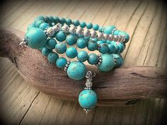 Turquoise Three Tiered Sterling Silver Wrap by barbmallonjewelry, $50.00
