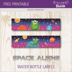 Add these Free Printable Space Alien water bottle labels to bottled drinks to match them to your Space Alien party theme. Space Printables, Free Printables, Space Party, Space Theme, Solar System Crafts, Alien Party, Space Aliens, Water Bottle Labels, Printable Labels