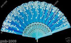 Spanish Blue Lace Silk Folding Flower Fan