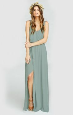 Kendall Maxi Dress ~ Silver Sage Crisp | Show Me Your MuMu