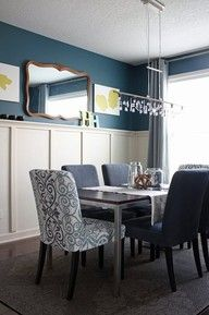 Love the mix of chairs and the white wainscoting. I may do something like this for my dining room, but with more blue on the bottom.