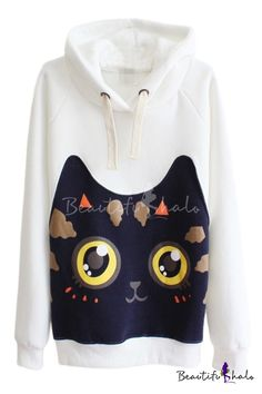 04f69316eb Kawaii Cat Pattern Long Sleeve Hooded Pullover New Outfits