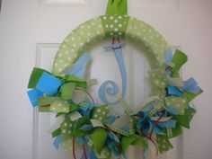 Peter Rabbit  New Baby Ribbon Wreath in Greens & by DaisyTags, $45.00