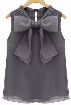 cute grey top with a bow - lightweight and dressy