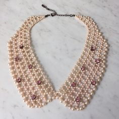 Adorable Pink Peter Pan Collar Necklace Adorable pink beaded necklace adorned with pink rhinestones. Jewelry Necklaces