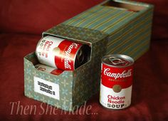 DIY soup holder made from an empty soda can box