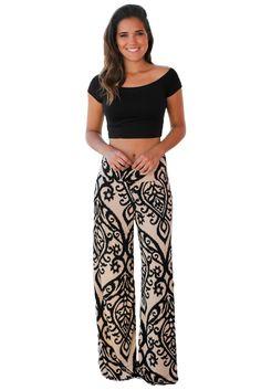 b0e38900f23fe1 Fashion Black Damask Print Apricot Palazzo Pants [LC77017-18] - $9.60 :  dailyshee