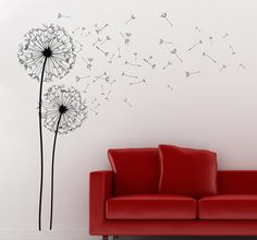 Room Stickers - Elegant and classy floral design to decorate your home. Bedroom Murals, Bedroom Wall, Wall Murals, Diy Wall Stickers, Flower Wall Stickers, Home Design, Wall Design, Dandelion Wall Decal, Diy Wall Art