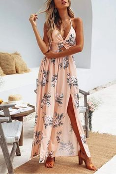 The fashion floral print vocation maxi dress  with high split is so sexy and it suits many summer occasions. #maxidressoutfit #maxidresscasual #maxidress forweddingguest #maxidressformal