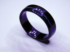 Carbon Fiber ring with Turquoise inlay , Carbon fiber wedding band