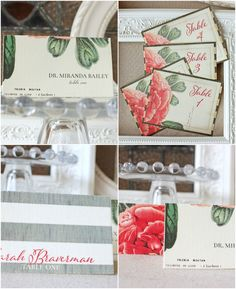 Vintage Peony Wedding Reception Place Cards, Table Numbers | Sunshine and Ravioli