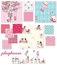 I am so loving this fabric from Sarah Jane.  The line is called Children at Play - Play House