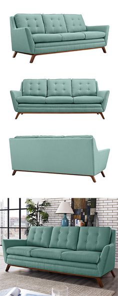 Take a seat or restful afternoon nap on this stylish and charmingly hued fabric sofa. Inspired by chic, mid-century silhouettes, this Synchronicity Fabric Sofa features a clean, angular seat design and...  Find the Synchronicity Fabric Sofa, as seen in the 3 Secrets for Mixing Rustic & Mid-Century Collection at http://dotandbo.com/collections/3-secrets-for-mixing-rustic-and-mid-century?utm_source=pinterest&utm_medium=organic&db_sku=117693