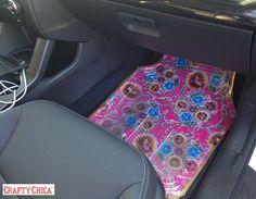 Diary of a Crafty Chica™: DIY Custom Fabric & Vinyl Carmats #crafts